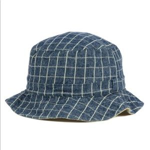 Lids NWT reversible denim checkered tan bucket hat